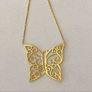 Jewelry - 925 Silver rustic butterfly necklace gold plated